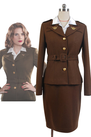 Captain America: The First Avenger Agent Peggy Carter Uniforme Cosplay Costume