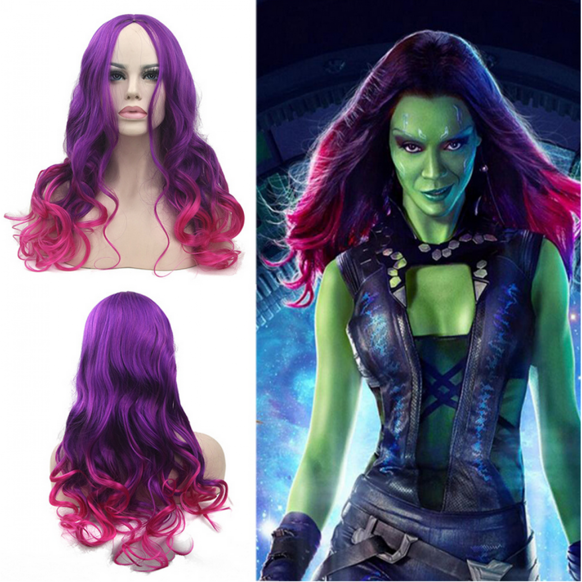 Guardians of The Galaxy Gamora Cosplay Perruque