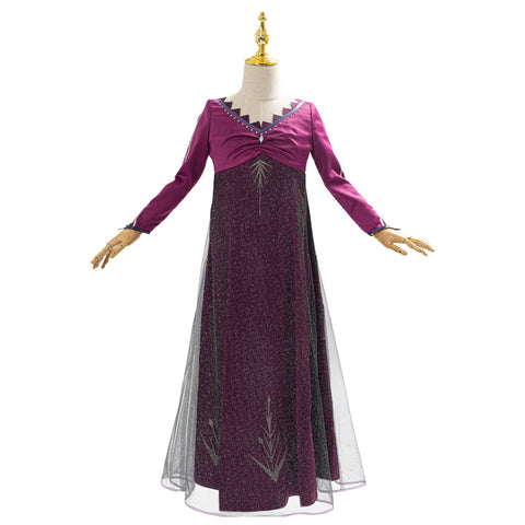 La Reine des neiges Frozen Elsa Robe Pourpre Robe Enfant Cosplay Costume