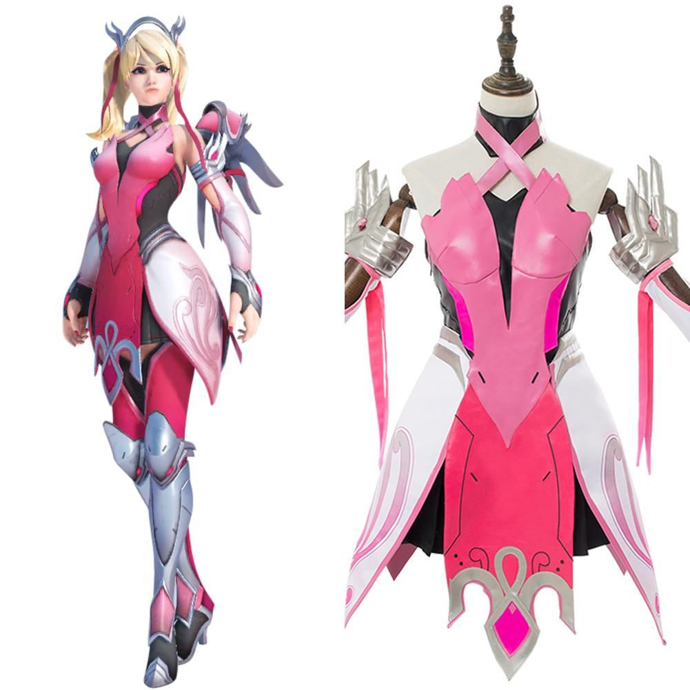 Overwatch Ange Rose Pink Mercy Skin Cosplay Costume