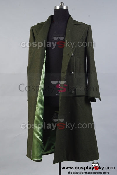 Doctor Who Manteau Vert Fonce Cosplay  Costume