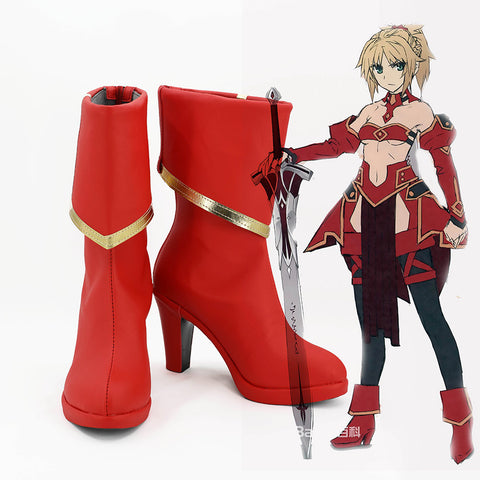 Fate/Apocrypha FA Saber of Red Mordred Bottes Cosplay Chaussures
