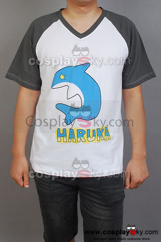 Free! Iwatobi Swim Club Haruka Nanase T-shirt Costume Version Bleu