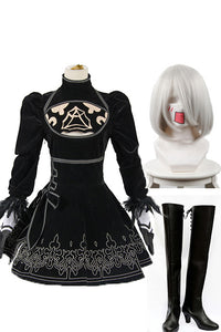 NieR:Automata 2B Cosplay Costume+Perruque+Bottes