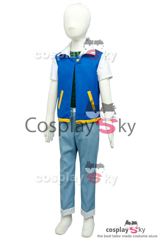 Pokemon Ash Ketchum Satoshi Costume Cycle 1 Cosplay Costume Version Enfant