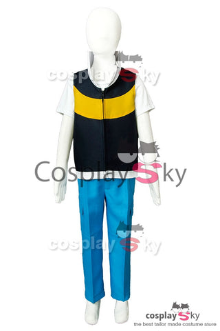 Pokemon Ash Ketchum Satoshi Saison 3 Diamond and Pearl Cosplay Costume D'enfant