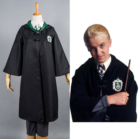Harry Potter Slytherin Robe D'enfant Uniforme de Draco Malfoy Cosplay Costume