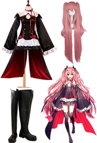Seraph of the End Vampires Krul Tepes Cosplay Costume + Perruque + Chaussures