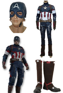 Captain America Steve Rogers Cosplay Costume + Masque + Bottes