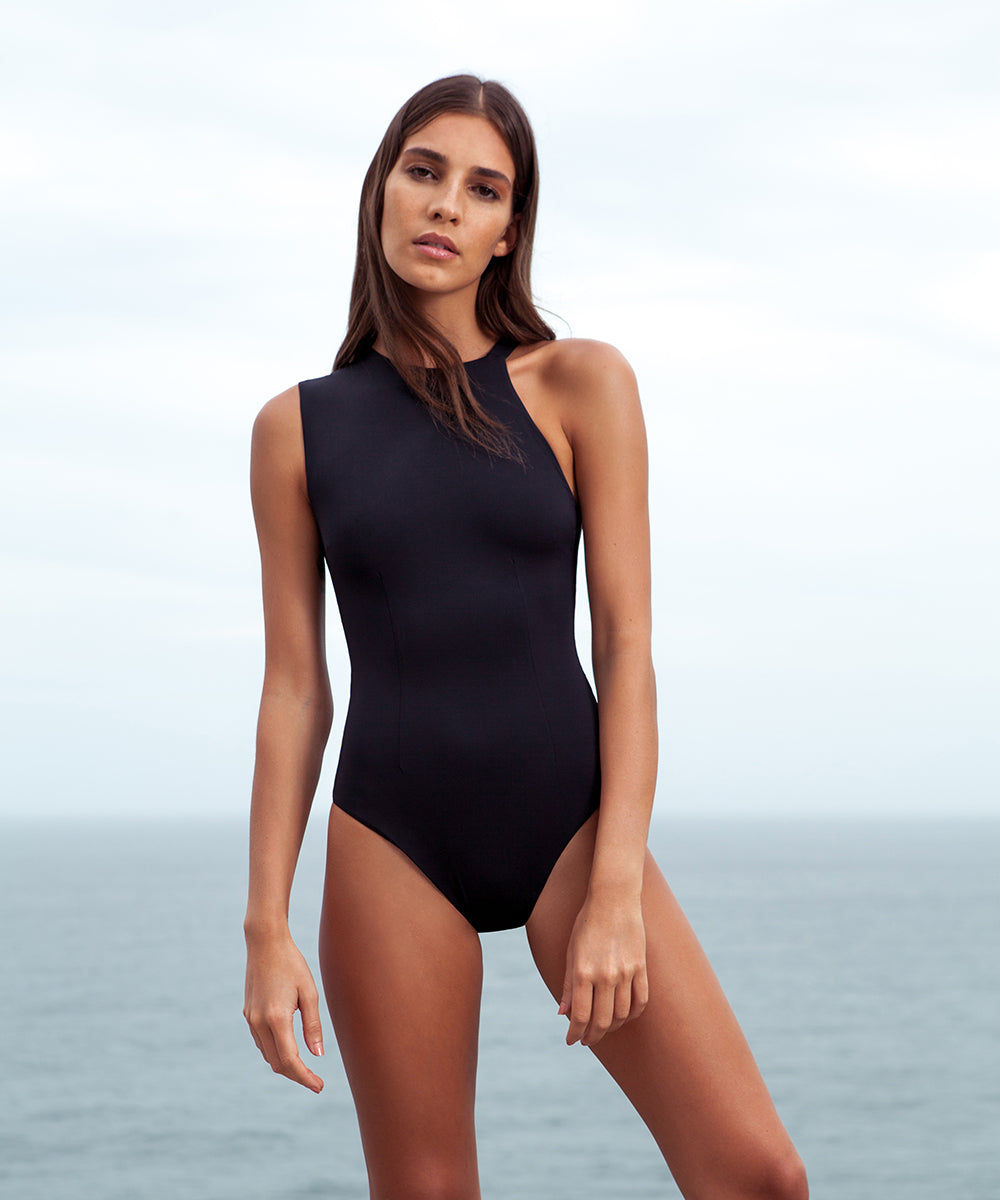 Haight - Asymmetric Shoulder Black Maillot