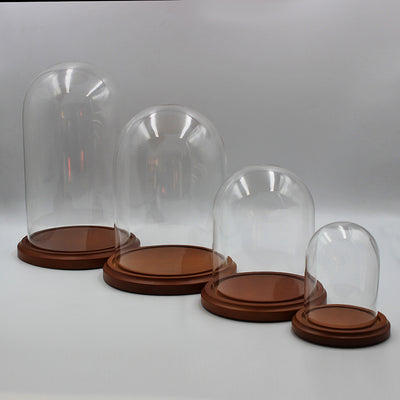 Glass Domes | Walnut Colour Base | Small Sizes