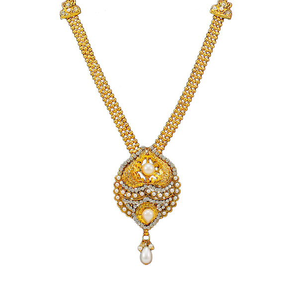 OyeTrend Heavy White Pearl Pendant Necklace With Jhumki For Women