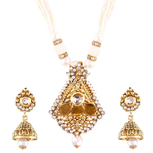 OyeTrend Copper Pendant Set Adorned With Pearl Chain