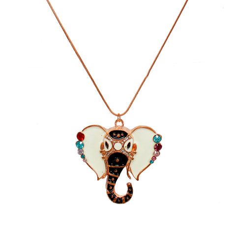 OyeTrend Multi-Color Ganesh design Pendant On Copper Chain