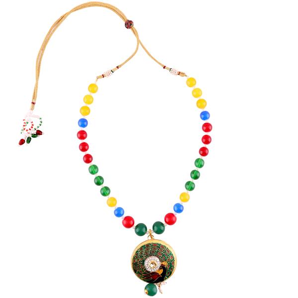 OyeTrend Round Meenakari Pendant With Multi Color Pearl Chain