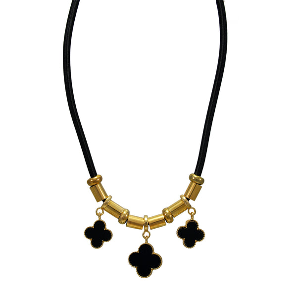 OyeTrend Dagling Black Flower Necklace For Girls