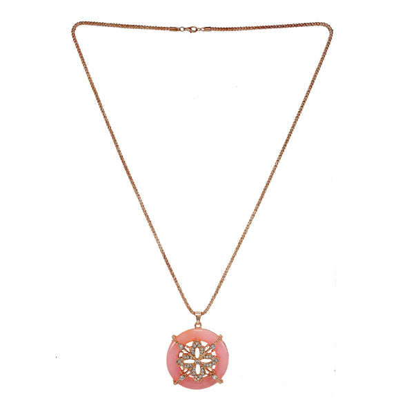 OyeTrend Floral Pink Pendant On Gold Tone Chain