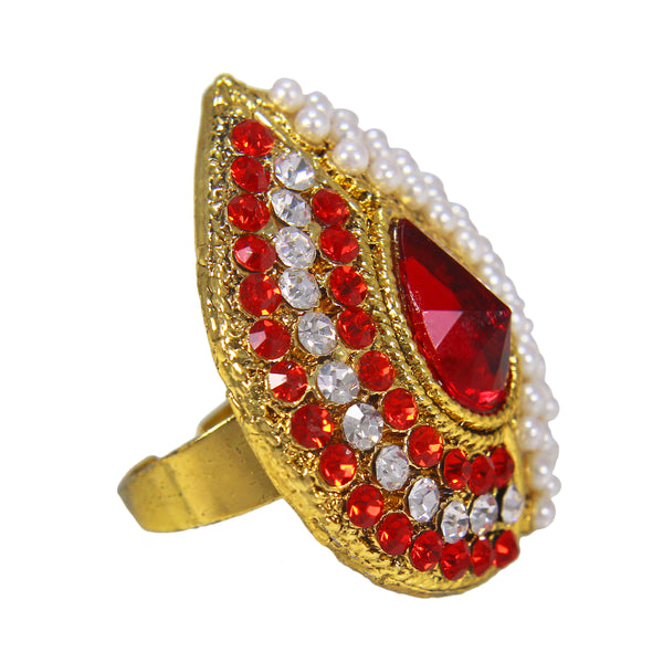 OyeTrend Red Stone And Pearl Embellished Ring