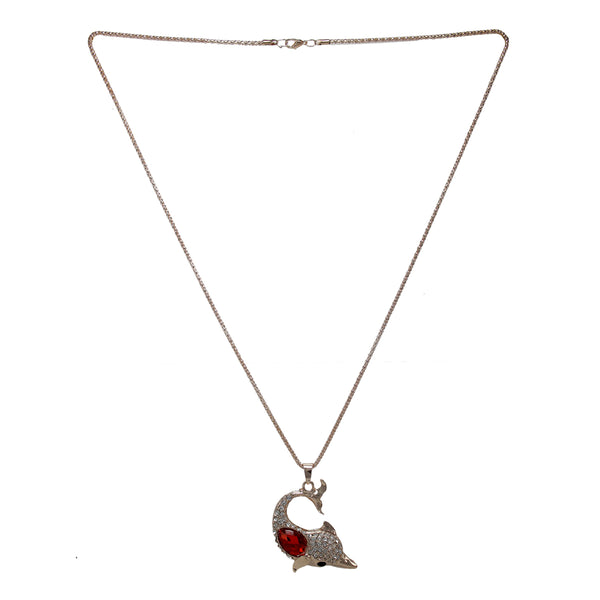 OyeTrend Dolphin Fashion Pendant Adorned With White And Red Stones