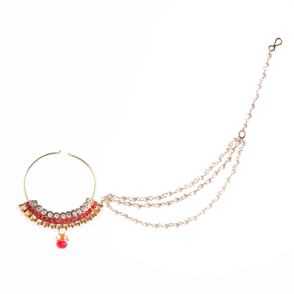 OyeTrend Heavy Traditional Nose Pin Embellished With Red And Silver Stones