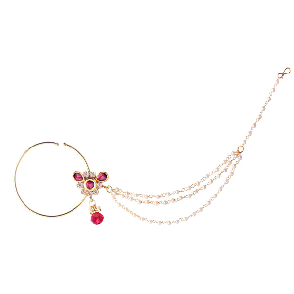 OyeTrend Pink Floral Designed Nath With Triple Pearl Chain