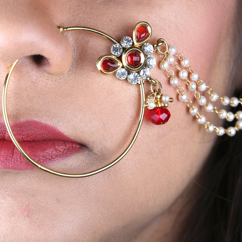 OyeTrend Red Floral Designed Nath With Triple Pearl Chain