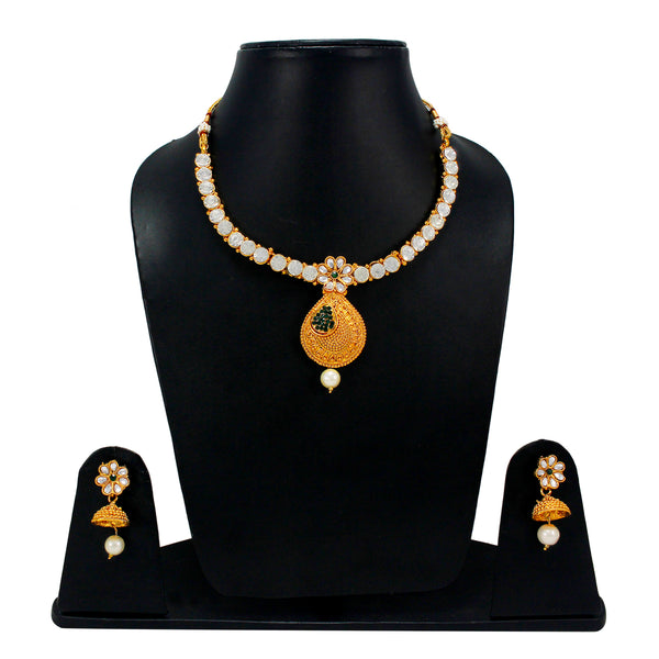 OyeTrend Floral Design Inspired Necklace Set With Green Stones