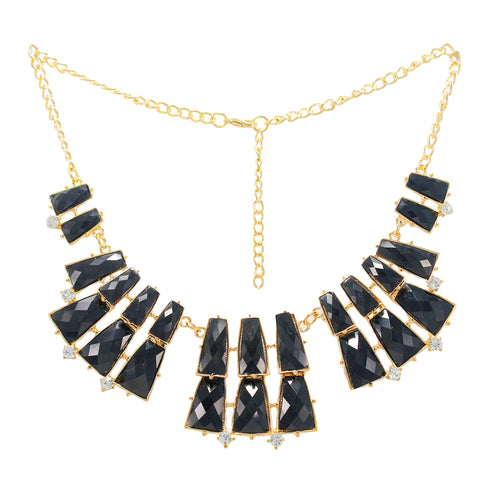OyeTrend Black Stone Embellished Statement Necklace