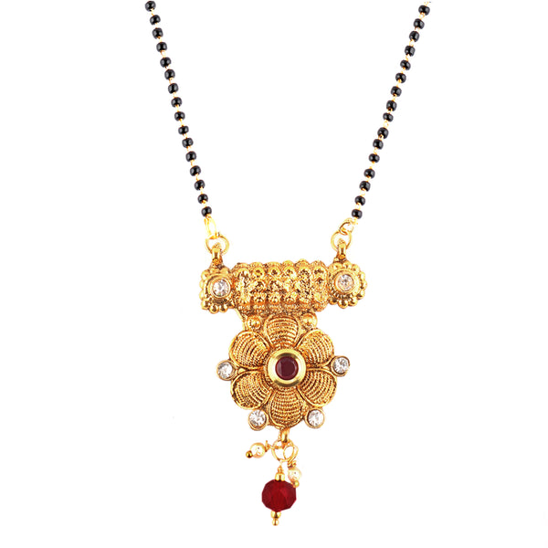 OyeTrend Floral Yellow Gold Plated Mangalsutra With Red Stone