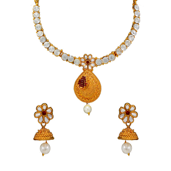 OyeTrend Floral Design Inspired Necklace Set With Red Stones