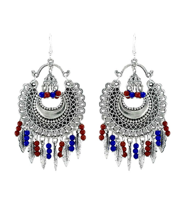 Oyetrend Silver Earrings Adorned With Jhumki And Leaf