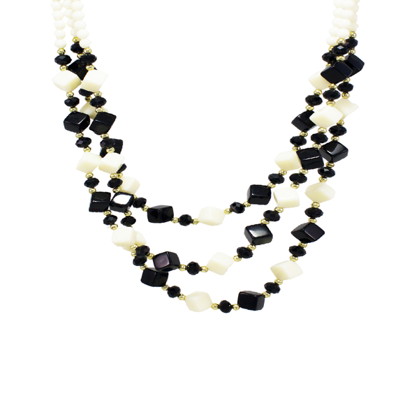 OyeTrend Black And White Beaded Layered Necklace