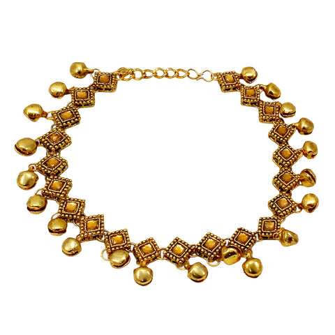 OyeTrend Dangling Ghunghroo Anklet Design With Golden Stones