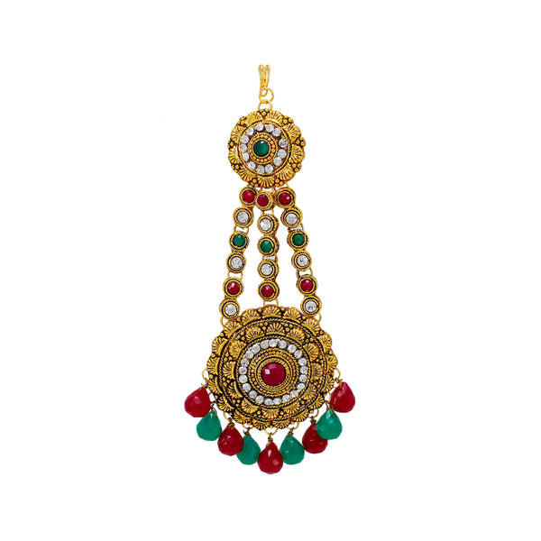 OyeTrend Antique Gold Passa Maang Tikaa Embellished With Red Green Stone