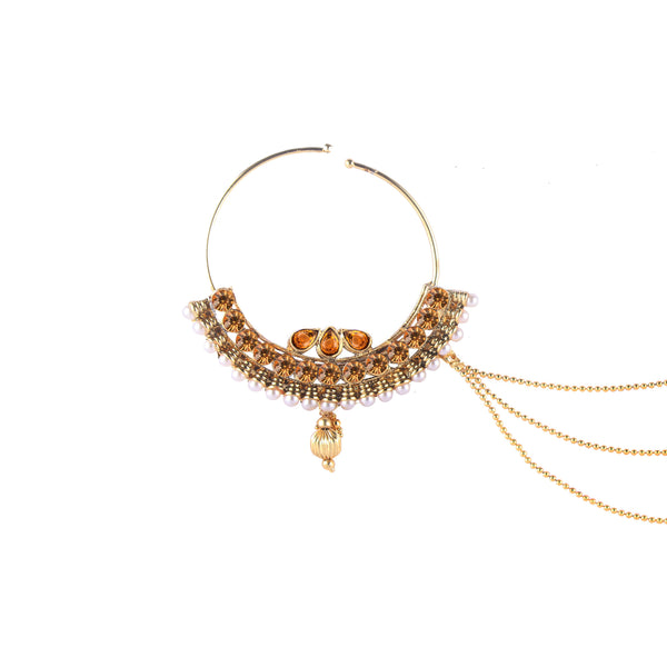 OyeTrend Gold Plated Heavilly Embellished Nath In Golden Stones And Pearl