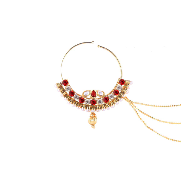 OyeTrend Gold Plated Heavily Embellished Nath In Red Stones And Pearl
