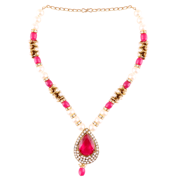 OyeTrend Pink Stone And Pearl Adorned Pendant Set