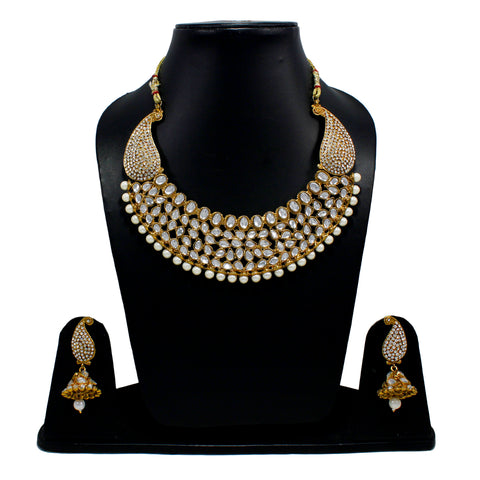 OyeTrend Kundan Embellished Designer Necklace Set