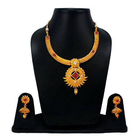 OyeTrend Designer Necklace Set Embellished With Red Stone