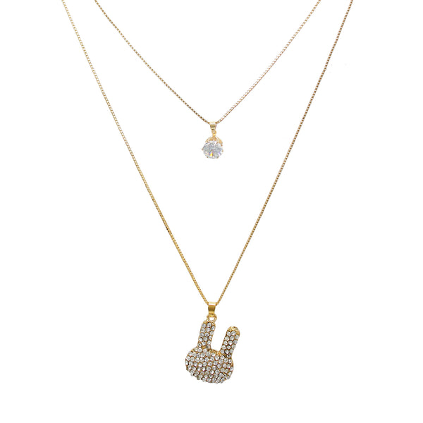 OyeTrend Adorable Golden Double Chain Fashion Pendant
