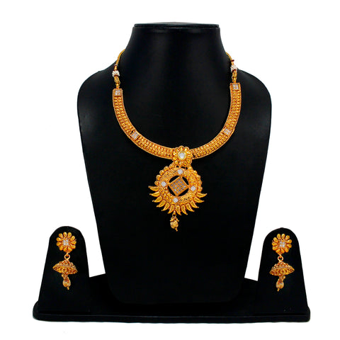 OyeTrend Designer Necklace Set Embellished With Golden Stone