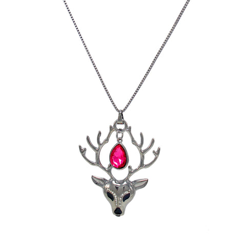 OyeTrend Pink Stone Adorned Silver Deer Pendant For Women