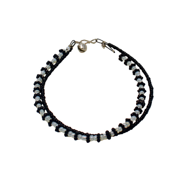 OyeTrend Double Layer Black And White Pearl Anklet For Women