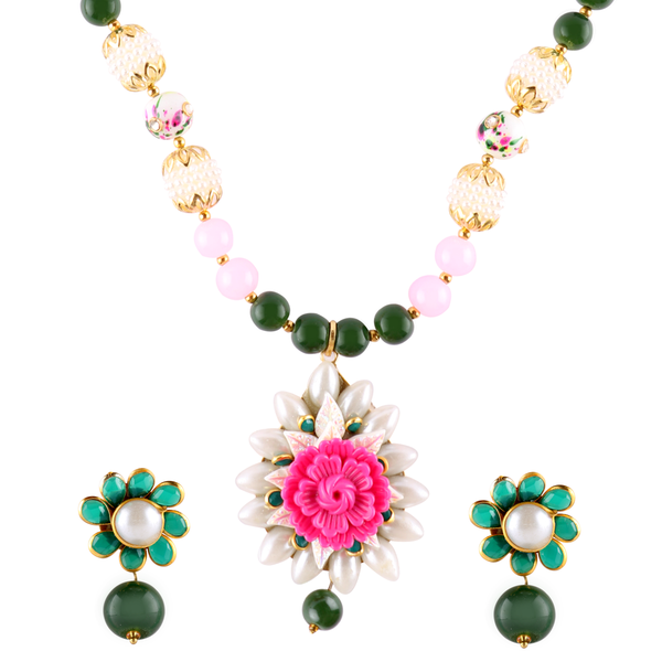 OyeTrend Floral Pendant Adorned In Multi Color Pearl Chain