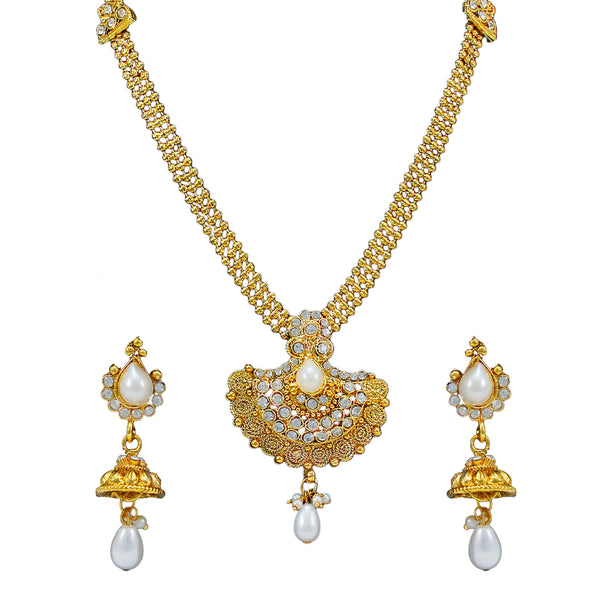 OyeTrend Traditional Necklace Set Adorned With White Stones