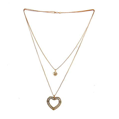 OyeTrend Elegant Two-Layer Gold Tone Chain Necklace With Dangling Heart