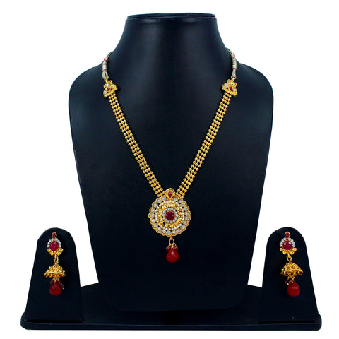 OyeTrend Traditional Necklace Set Adorned With Red Stones