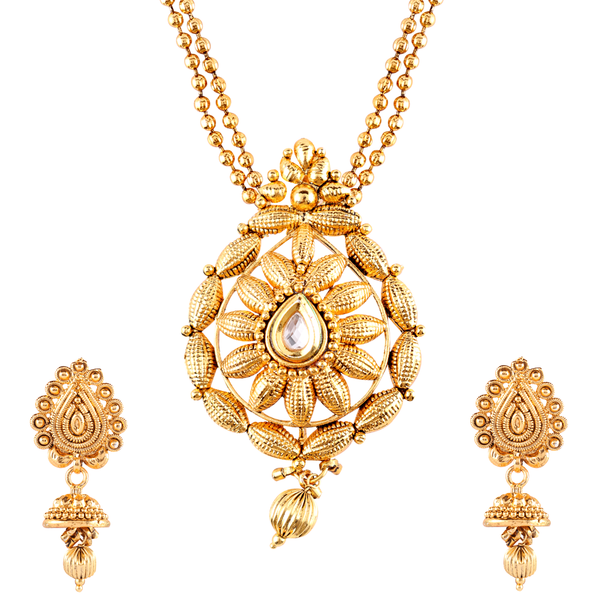 OyeTrend Gold Tone Temple Design Pendant Set
