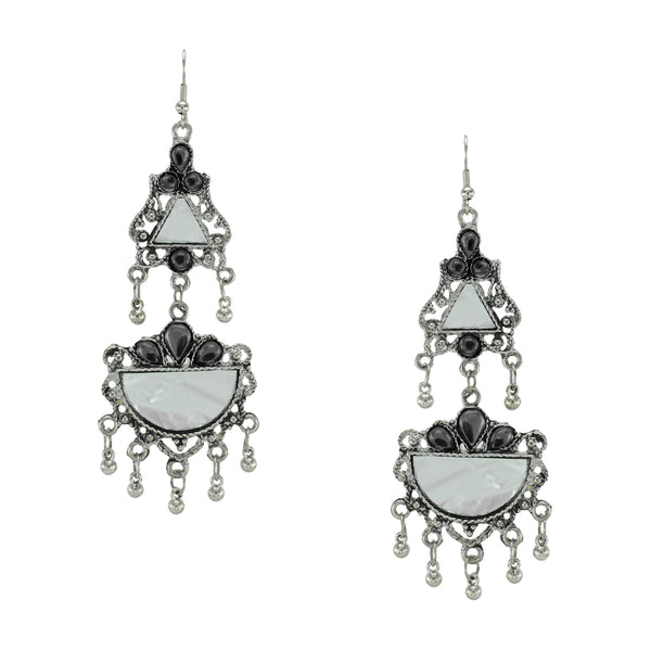 OyeTrend Gorgeous Silver Plated Mirror Earrings With Black Stone