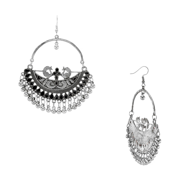 Oyetrend Designer Peacock Round Earring With Black Meena Work